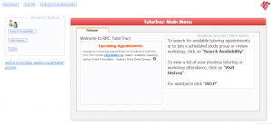 Screenshot of TutorTrac page with upcoming appointments