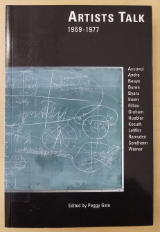 Black cover with chalkboard showing random figures and writing. List of artists who were interviewed to the right.
