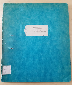 The plain blue folder cover of