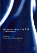 Dark blue background with white swirls with title 'Religion and identity in the South Asian Diaspora' in white.