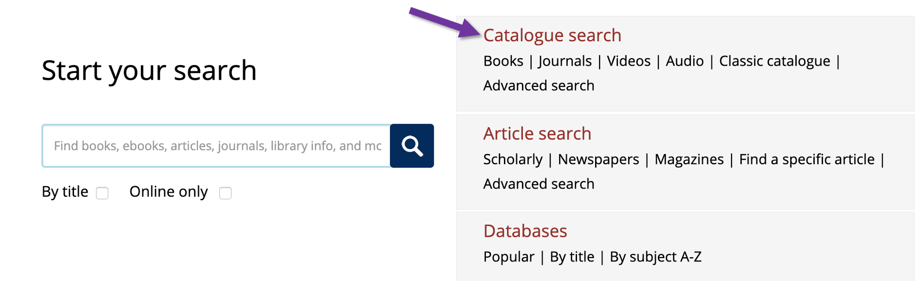 Screenshot of the university of Toronto libraries homepage with an arrow pointing to the catalogue search heading.