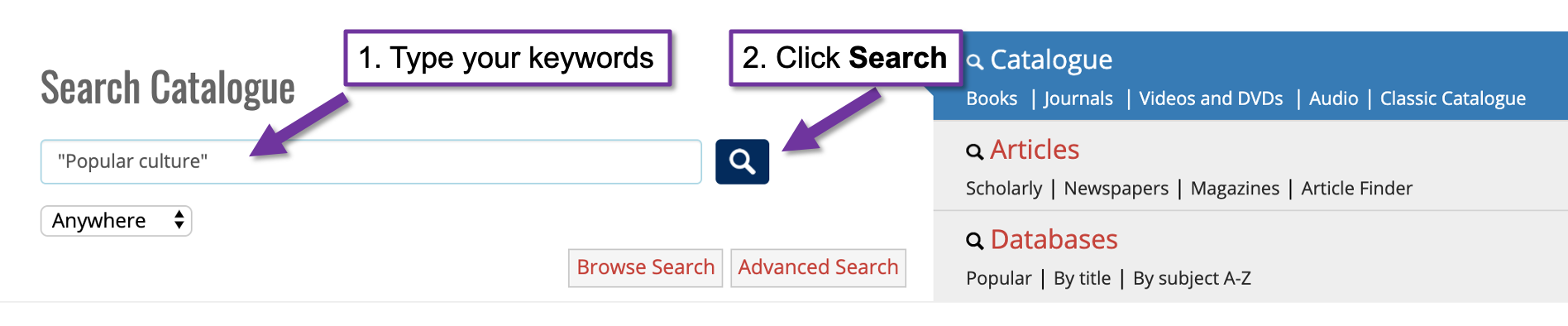 "Screenshot of the catalogue search page with 2 arrows pointing to features on the page. The first arrow is pointing to the search field with the text ""1 type your keywords"". The second arrow is pointing to the search button with the text ""2 click search""."