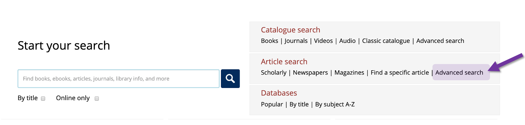 Screenshot of the University of Toronto libraries homepage with attention being drawn to the Advance search link under the Article Search heading.