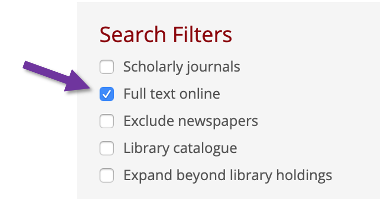 Screenshot of the Search filters with attention being drawn to the Full text online button.
