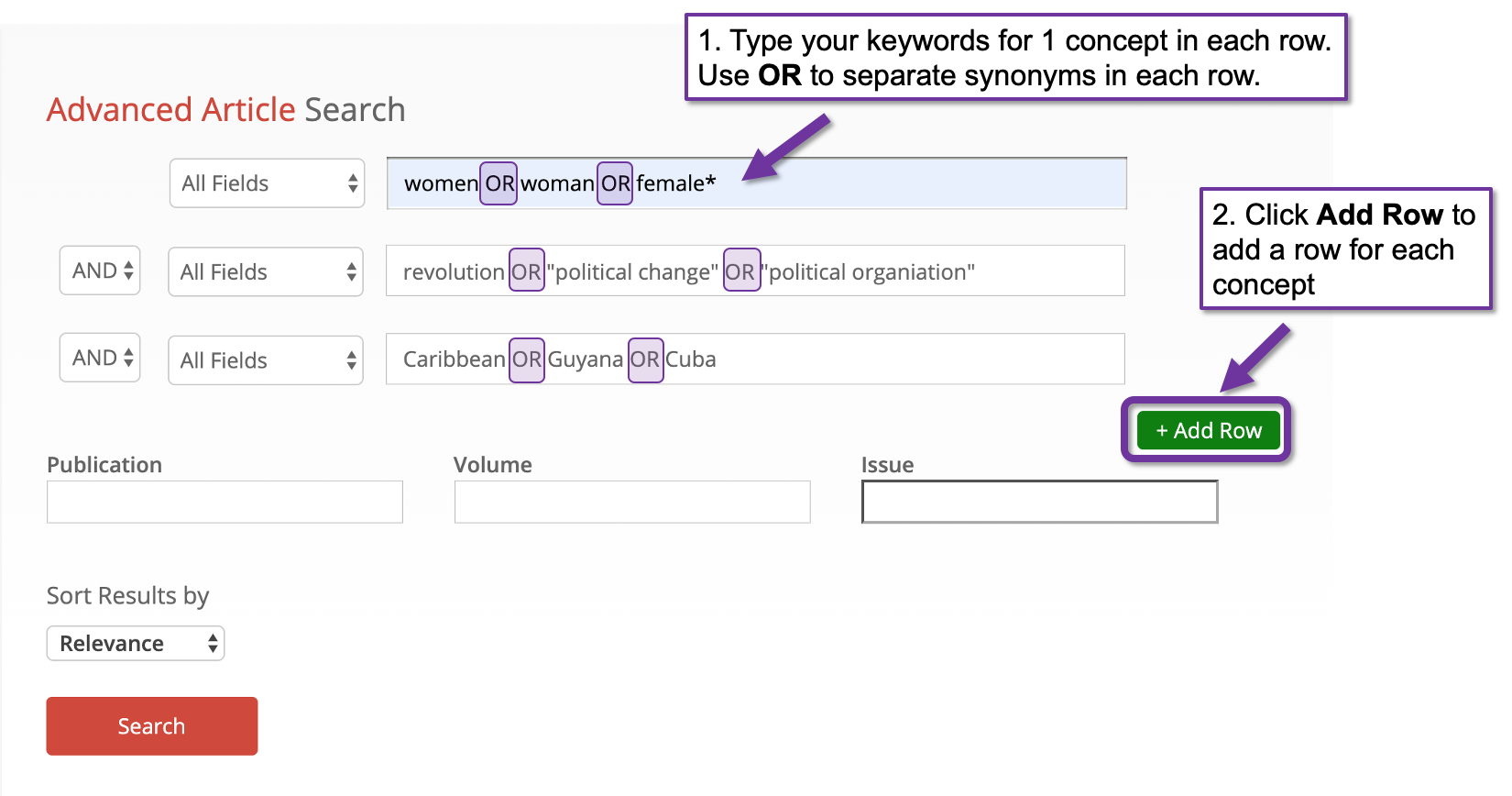Screenshot of the advanced article search with 3 search field rows and attention being drawn to the OR operator between synonyms in each search field. Attention is also being drawn to the add row button.