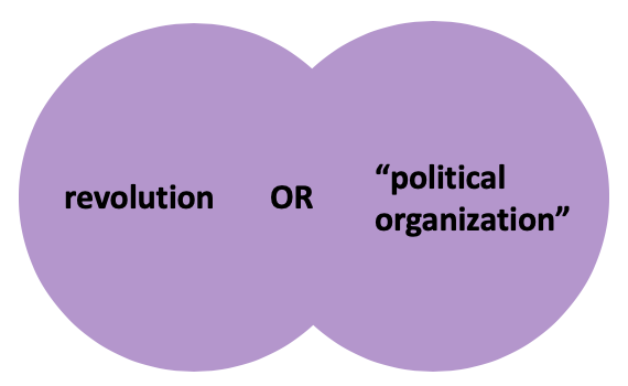 A Venn diagram with two purple circles, the first circle contains the word revolution, the second circle contains the phrase political organization in quotation marks. The overlapping area contains the word OR in caps lock.