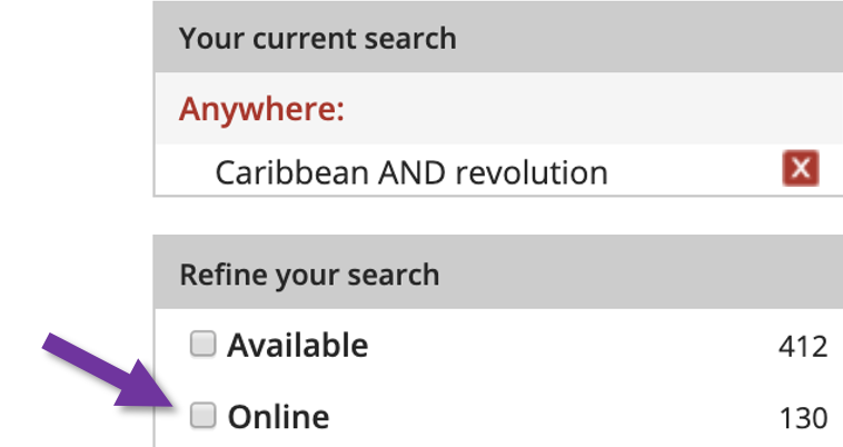Screenshot of refine your search menu with arrow pointing to the online button