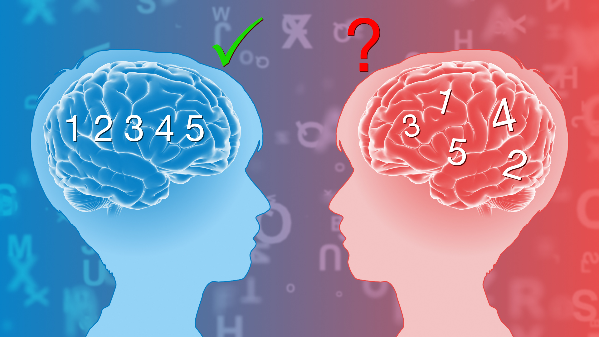 Image of two heads, with ordered numbers on one side and disordered on the other one