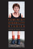 Feminist Disability Studies: book cover, black background with orange text on a drawing of a person