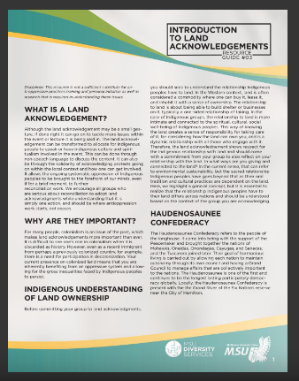 """Introduction to Land Acknowledgements Resource Guide #03"" by McMaster Student Union Diversity Services"