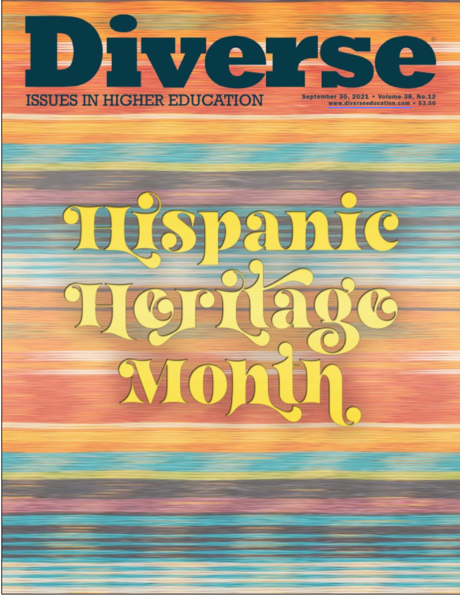 Striped background in warm orange, brown, red and teal colours with text Hispanic Heritage Month