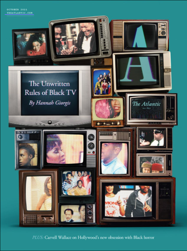 Fifteen classic televisions stacked in a tall pile with images of black tv shows from previous eras.