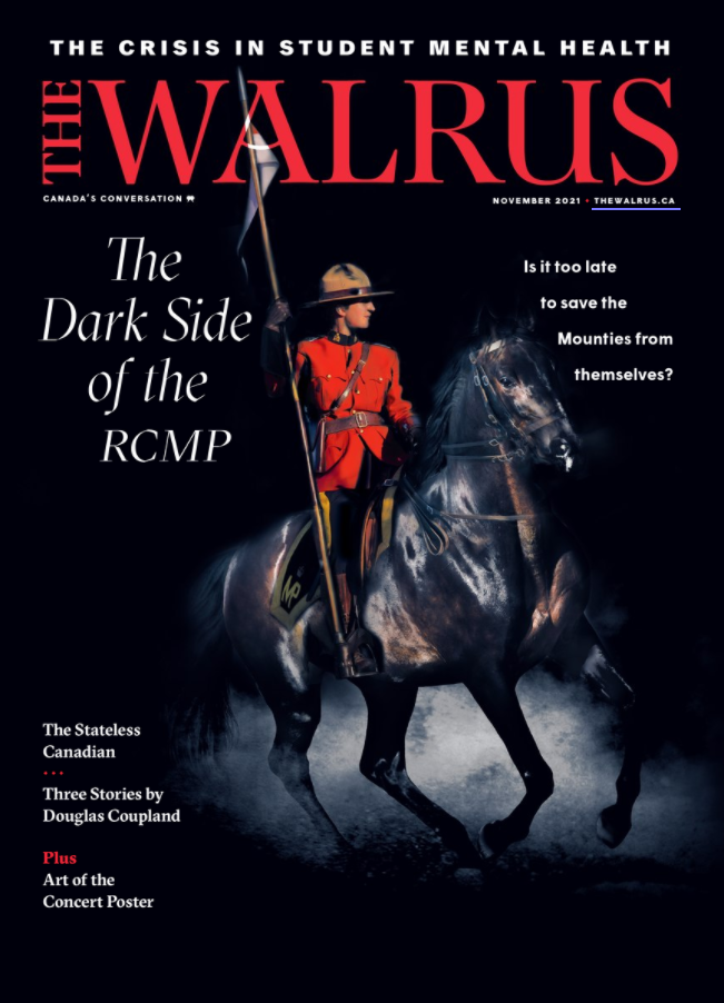 Masculine presenting man dressed a Canadian Mountie riding a dark black horse.