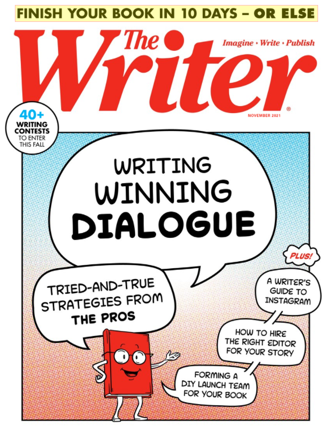 Red illustrated book with conversation bubbles that include article topics.