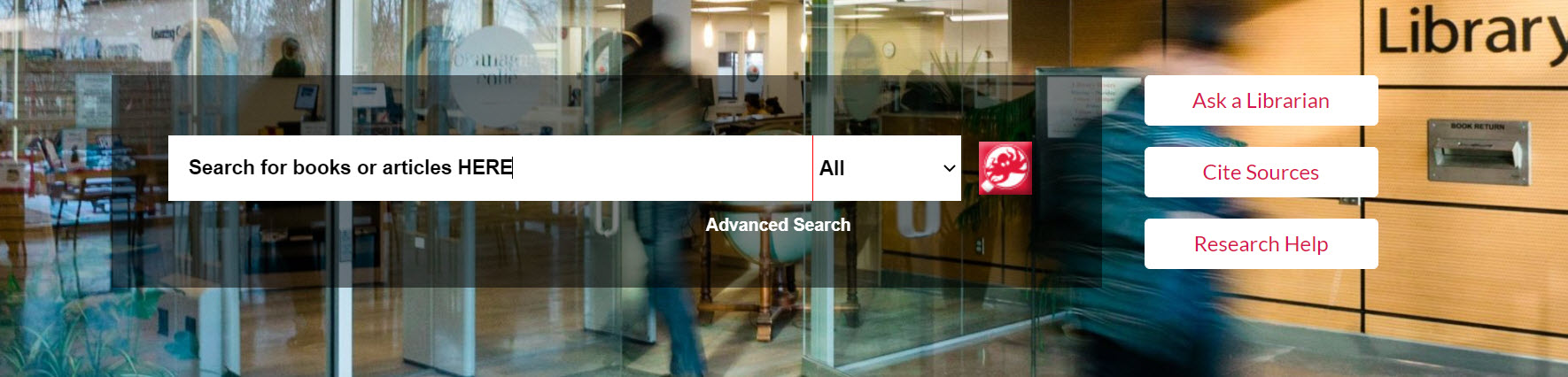 library wesite with background image of front entrance of the Kelowna campus library and search bar for library search engine