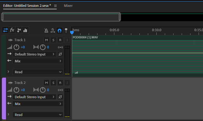 Poly WAV in a track in Audition.