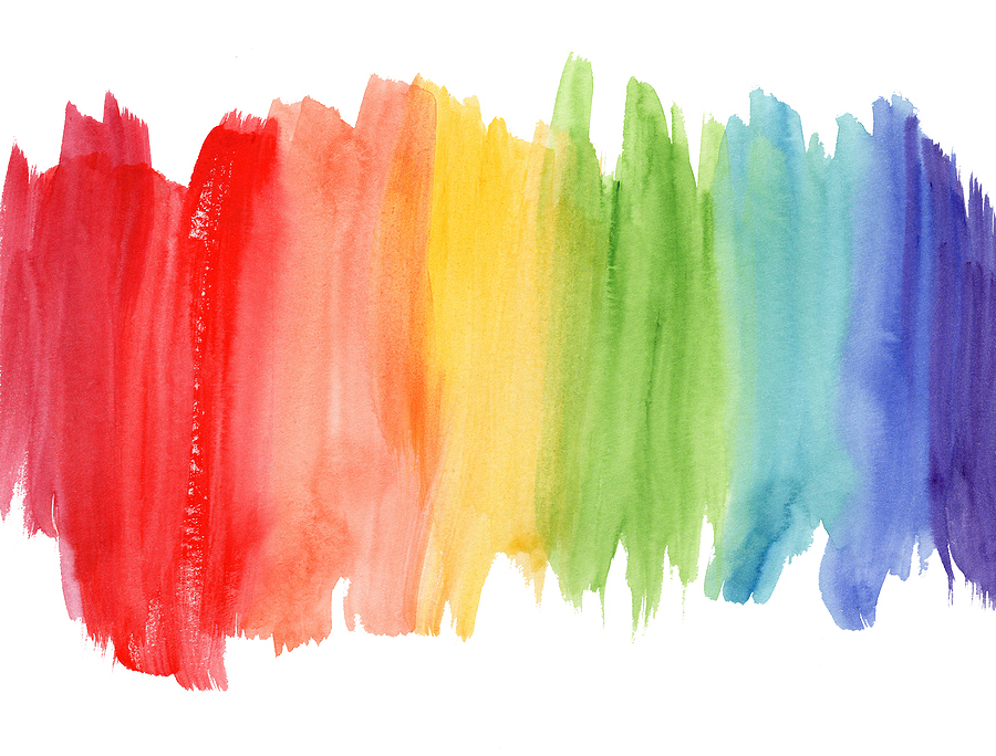 Image ID: a watercolour rainbow wash, starting with red on the left, blending into different colours and moving to blue on the right. The edges of each colour are staggered.