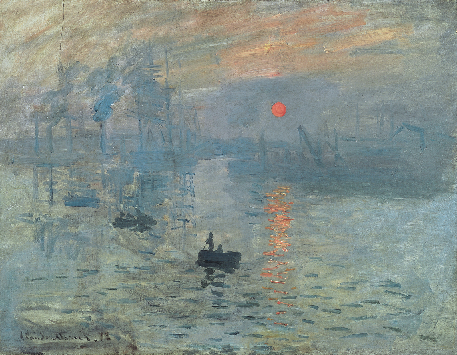 Monet painting of water and industrial scene with red sun