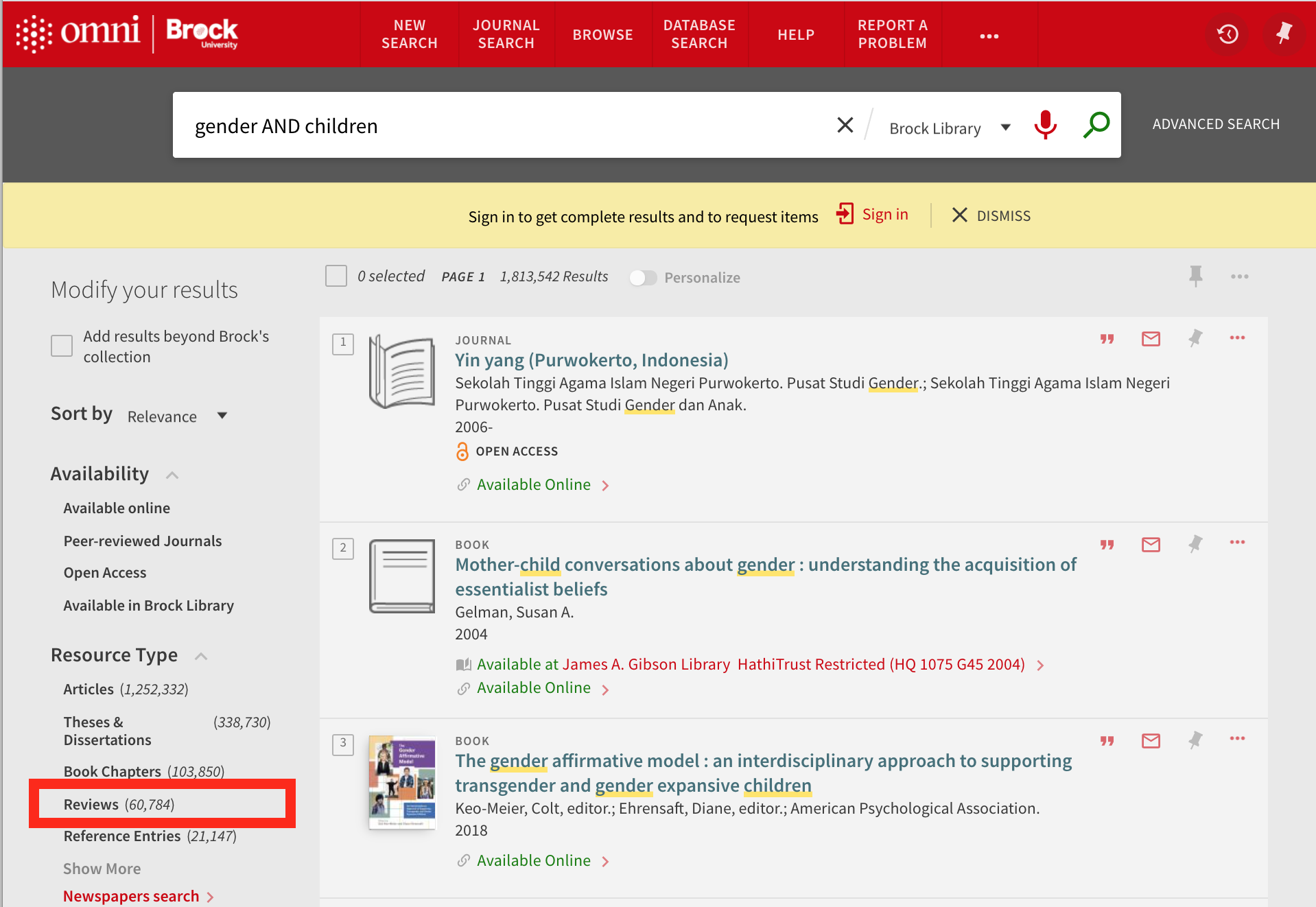 """screenshot of an omni search with """"reviews"""" filter highlighted"""