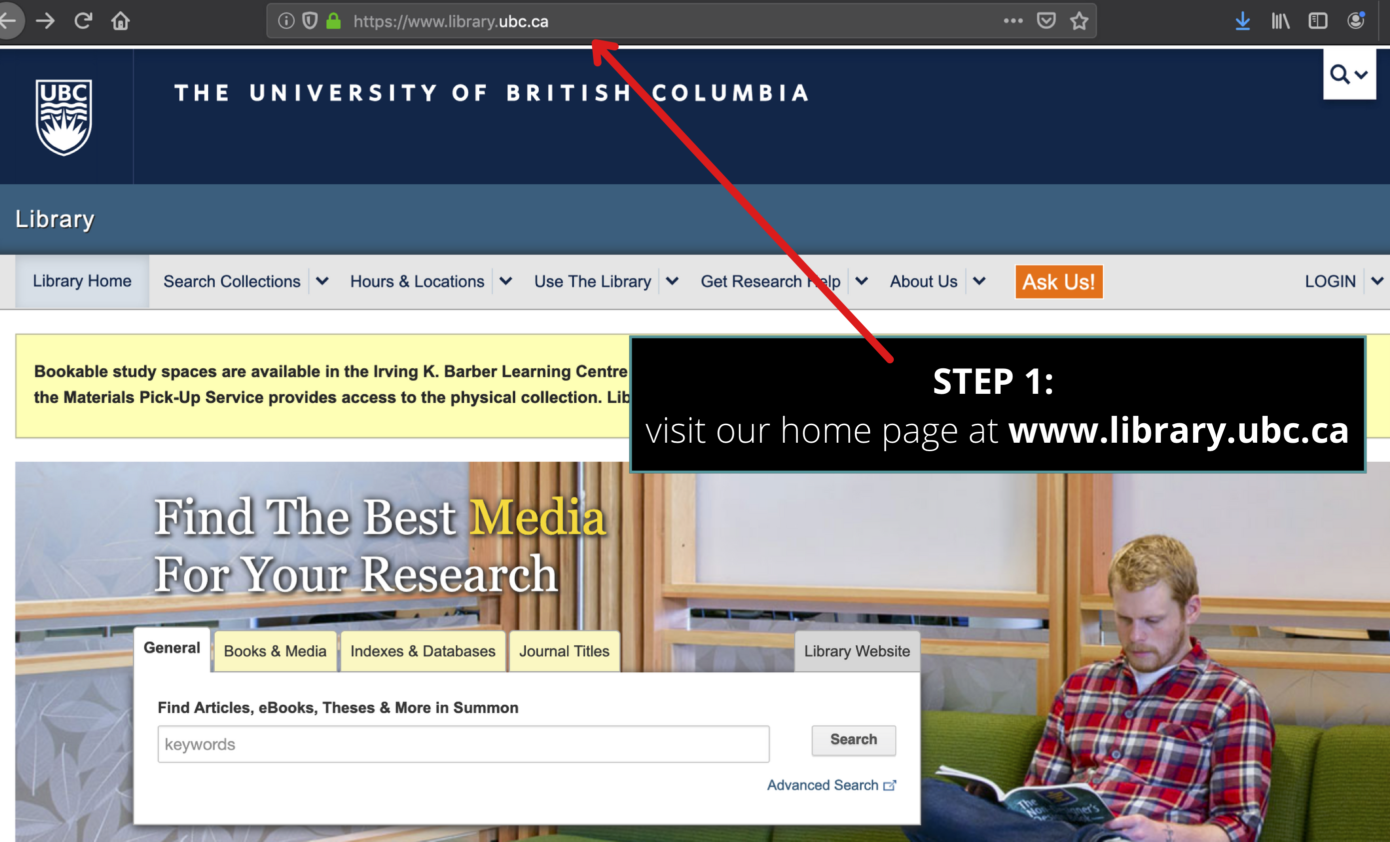 screenshot of UBC Library homepage