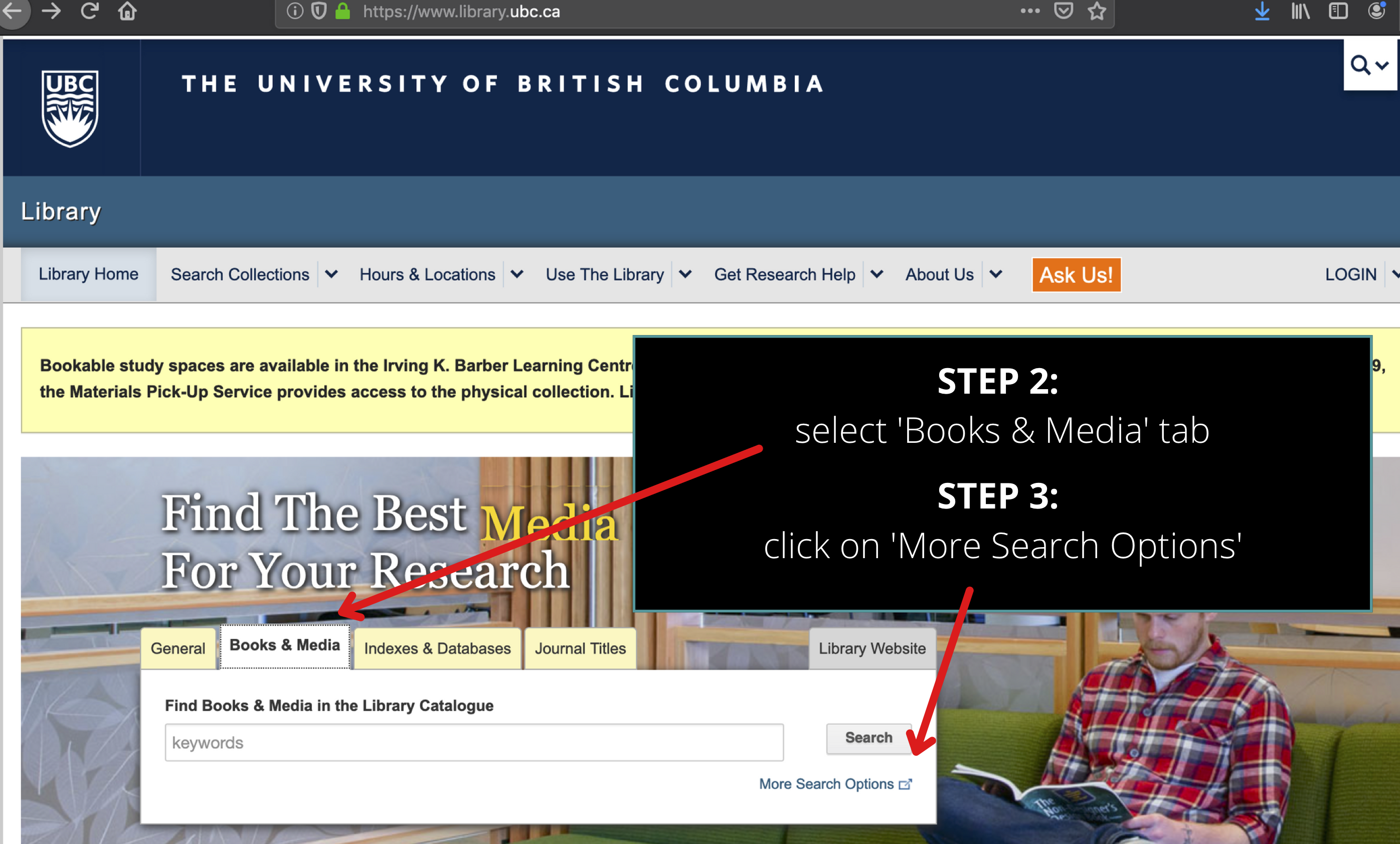 screenshot of UBC Library homepage with 'Books and Media' tab selected