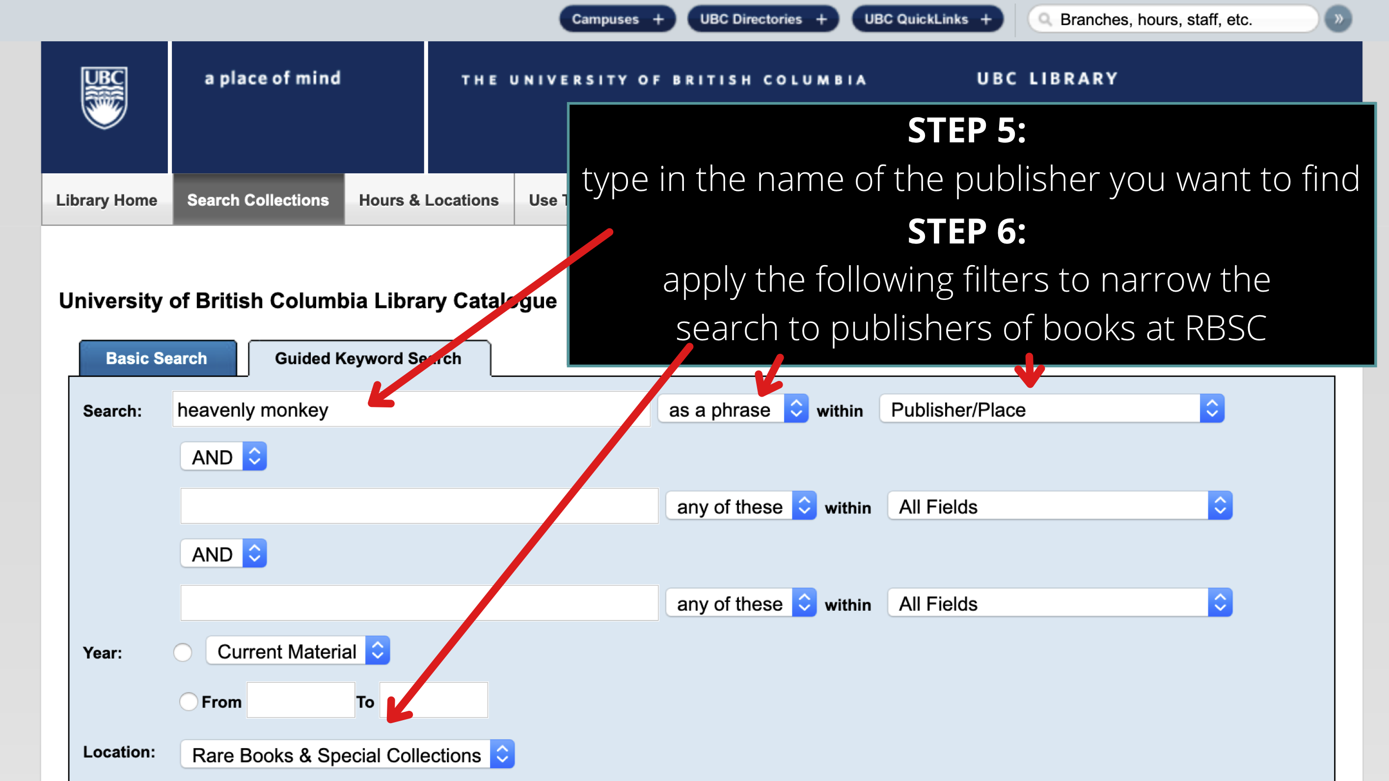 screenshot of UBC Library Guided Keyword Search page
