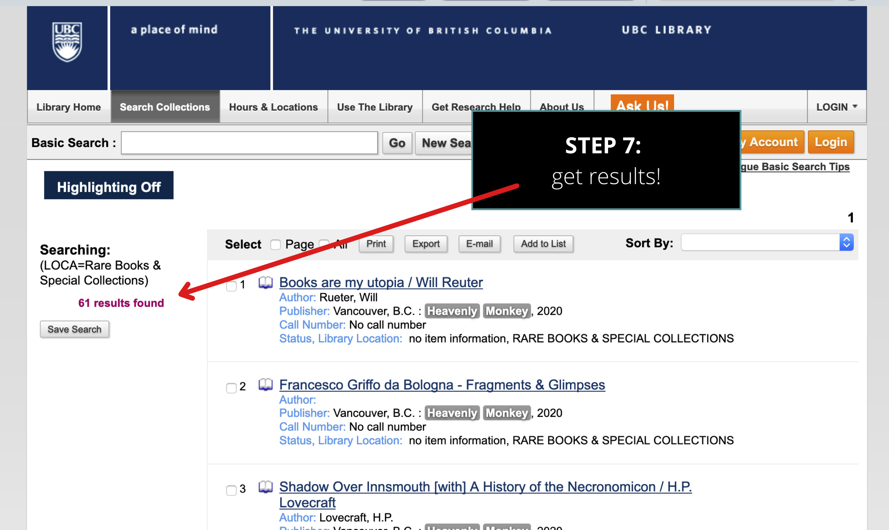 screenshot of UBC Library catalog search results for books published by Heavenly Monkey