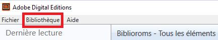 rubrique Bibliothèque barre de menu Adobe Digital Editions