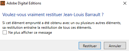 notification confirmation restitution d'un livre emprunté Adobe Digital Editions
