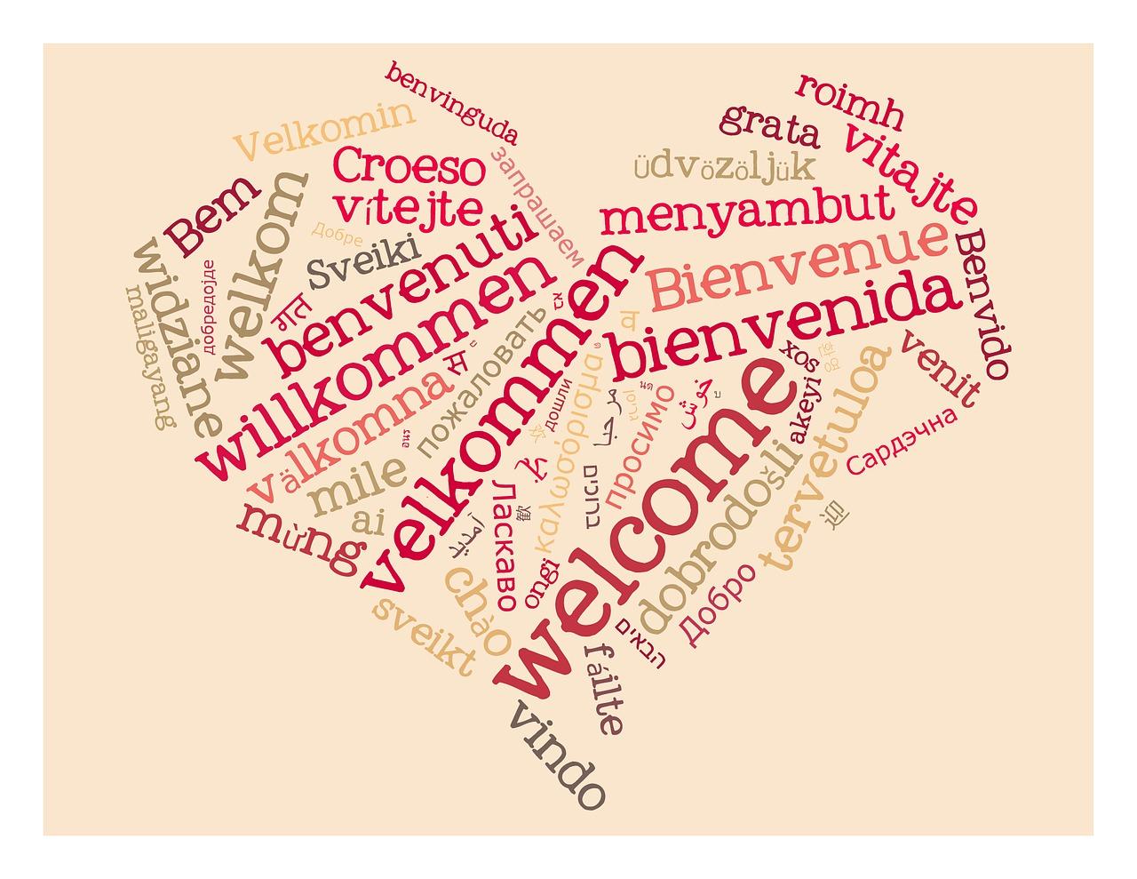 Bienvenue - mot écrit en plusieurs langues