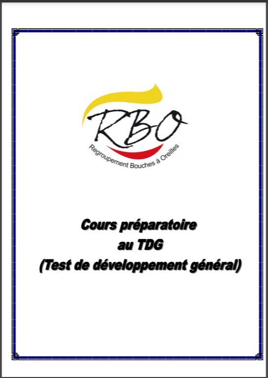 Cours préparatoire au TDG