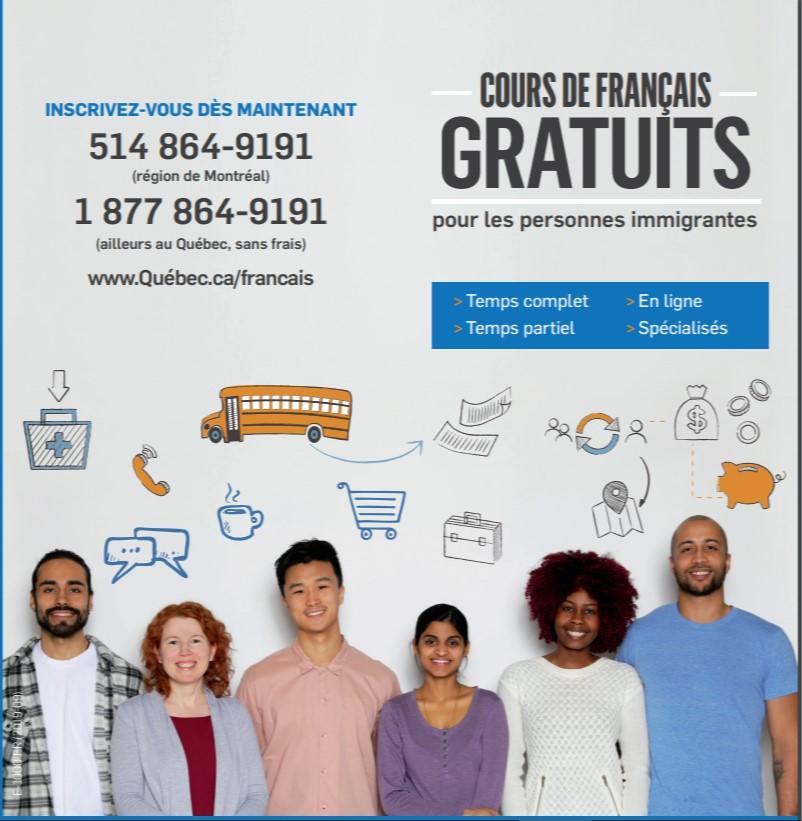 Dépliant sur les cours de français gratuits