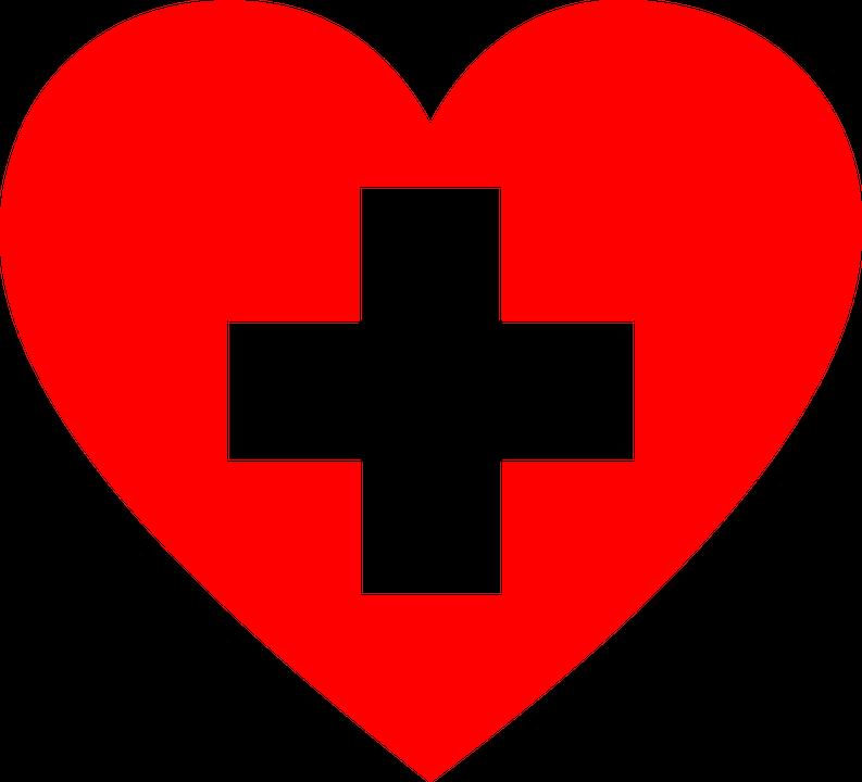 Coeur rouge avec une croix blanche à l'intérieur