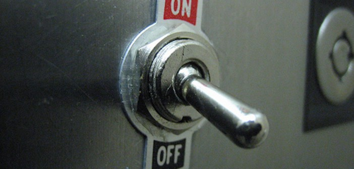 Button on/off switch to OFF