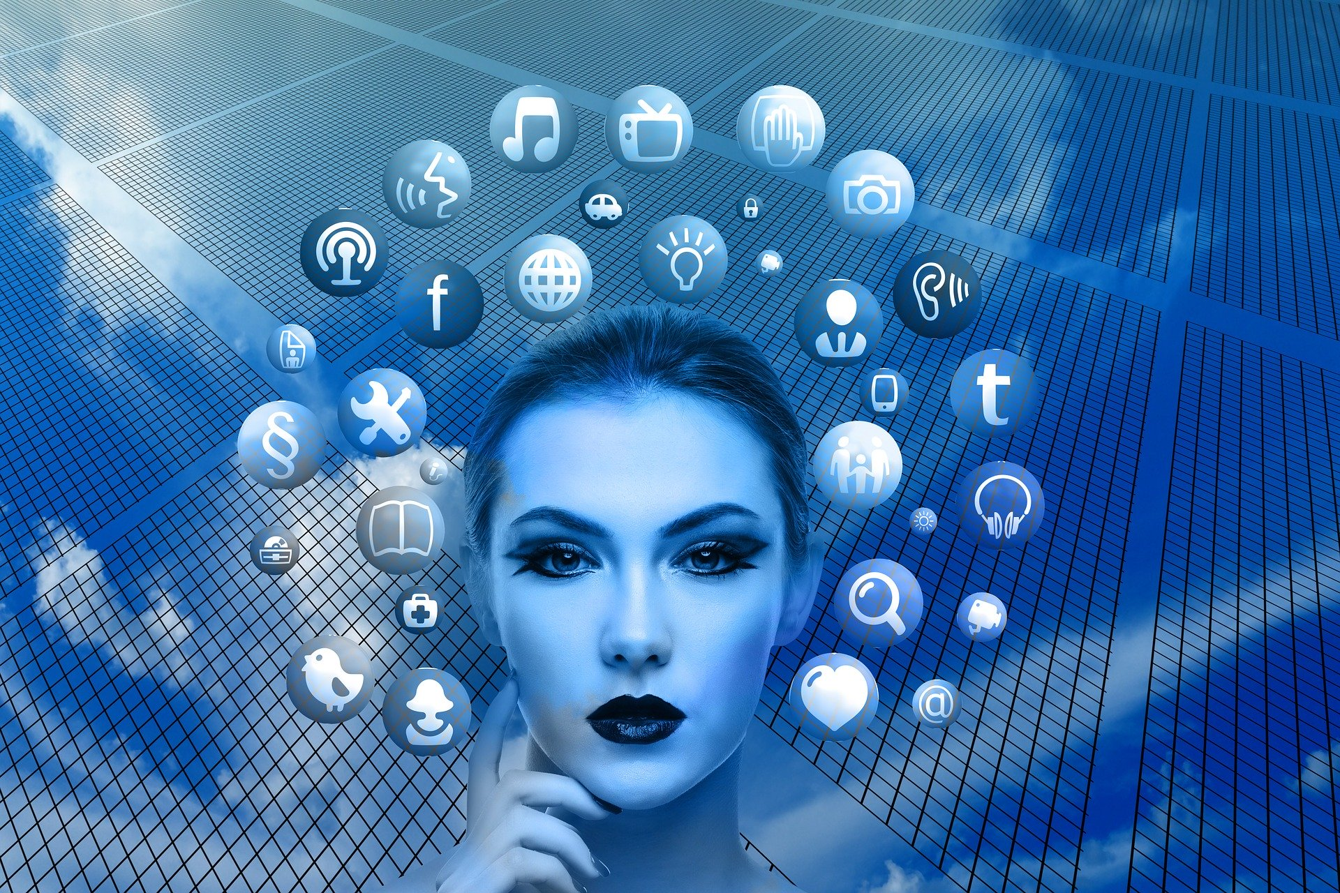 Woman face with social media icons floating around her head