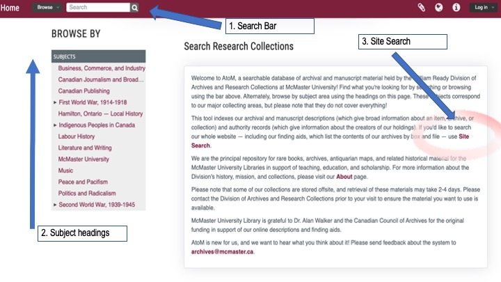 Web page of archives.mcmaster.ca. Three blue arrows and text boxes which read 1. Search Bar, 2. Subject Headings, 3. Site Search