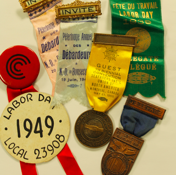 Green, gold and yellow ribbons with medals