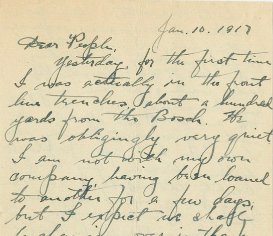 Handwritten text on light brown background dated January 10, 1917