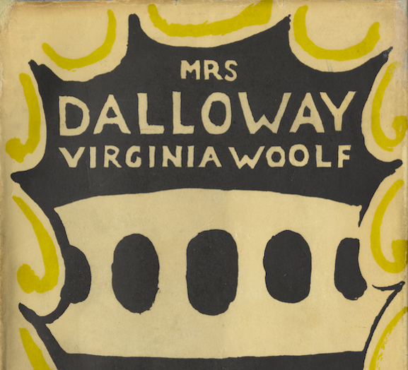 Yellow and Black with Text that reads Mrs Dalloway, Virginia Woolf