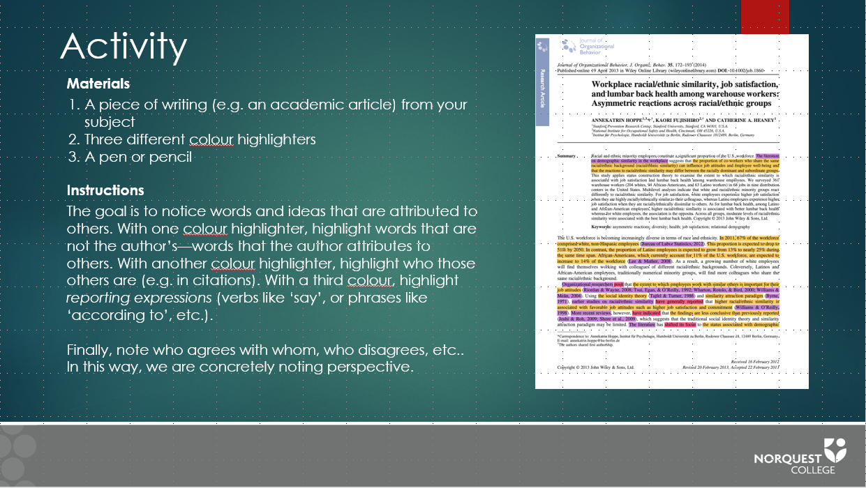 Image of activity slide from academic integrity teaching resource.
