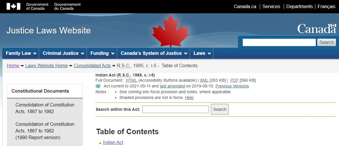 The Indian Act website image