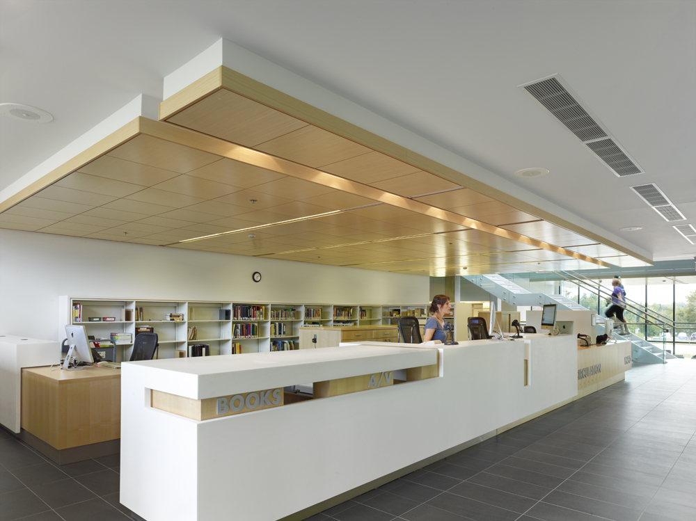 circulation and information desk at the Harris Lea
