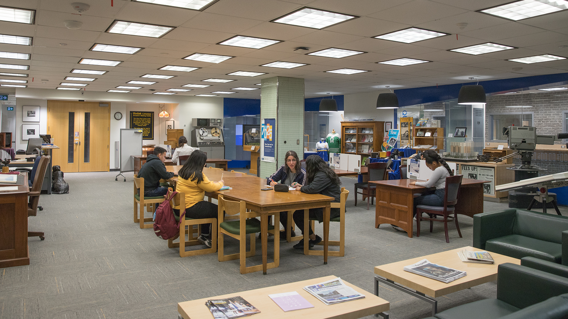 A group of students in the Archives & Special Collections reading room