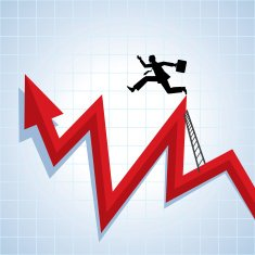 Person with a brief case and suite climbing up a rising chart arrow