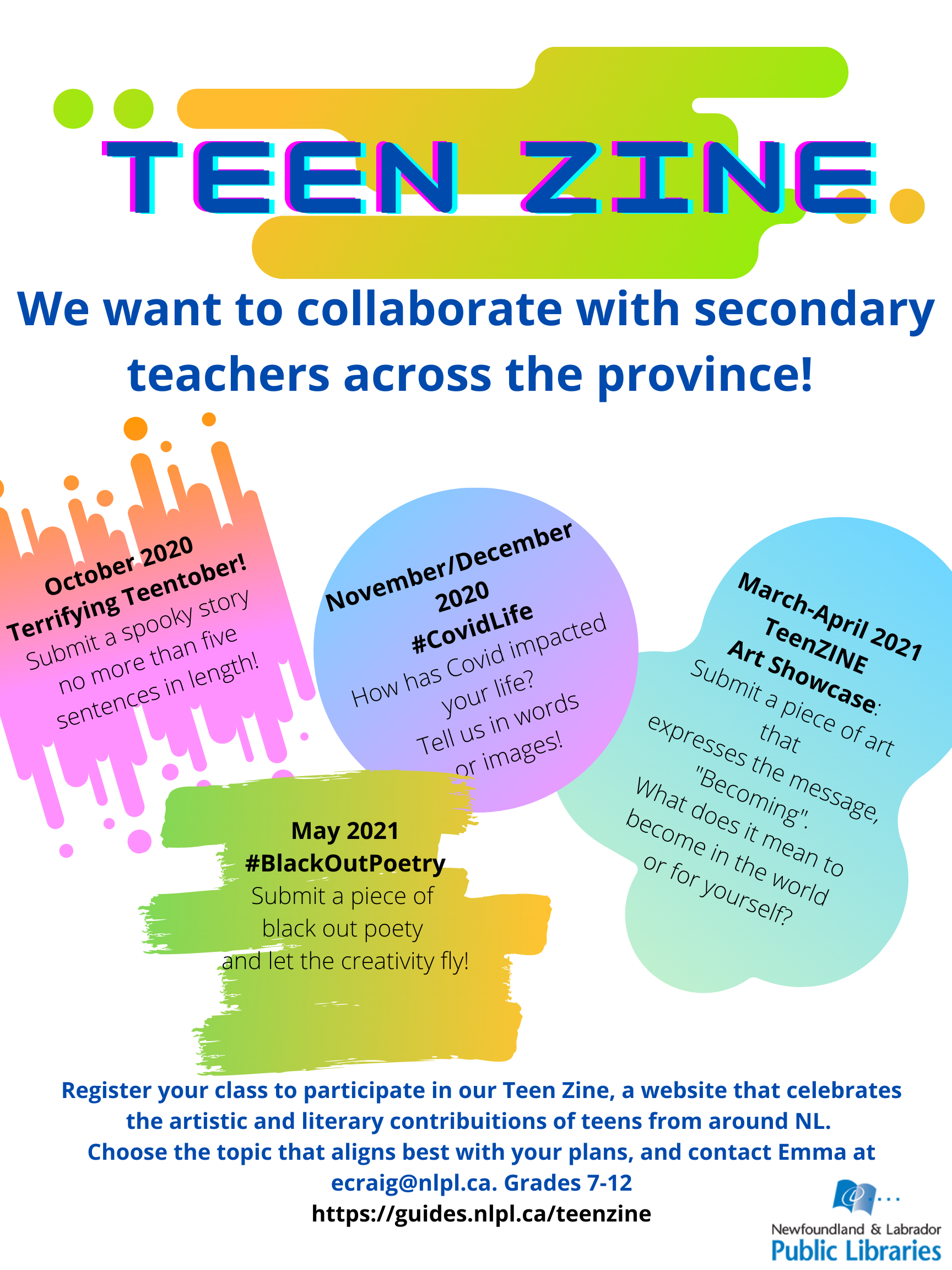 """Teen Zine poster: """"Teen Zine: We want to collaborate with secondary teachers across the province!"""""""