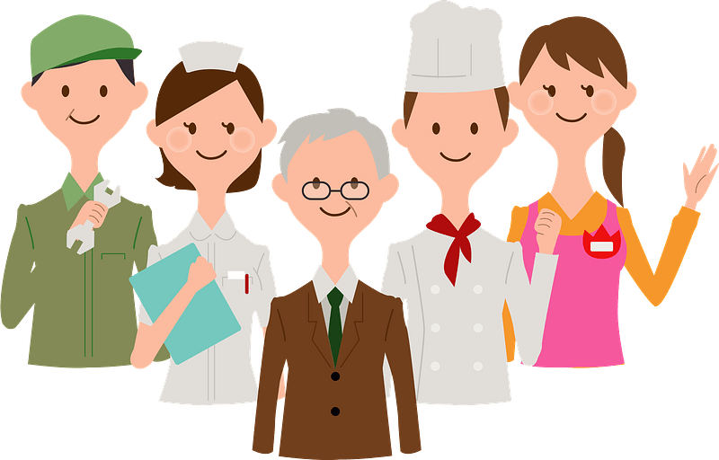 A mechanic, nurse, businessman, chef, and shop worker smiling and waving