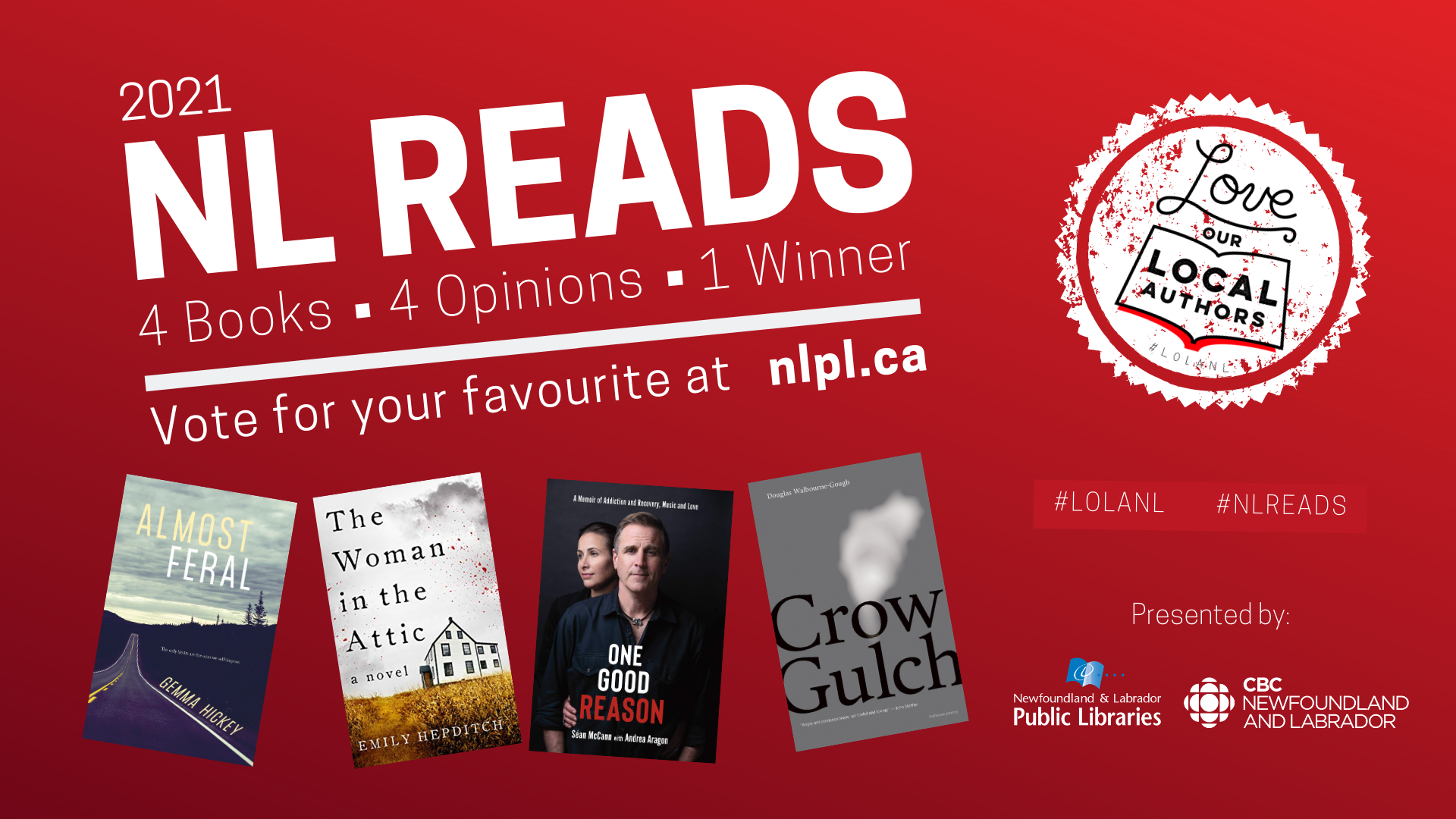 "Graphic showing the 4 books. ""4 books, 4 opinions, 1 winner. Vote for your favourite at nlpl.ca"""