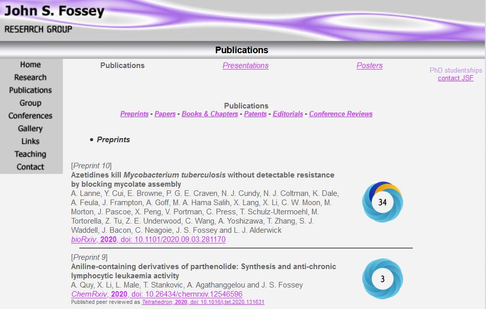 Research group's website. Each publication in their list has an altmetric donut and score beside it