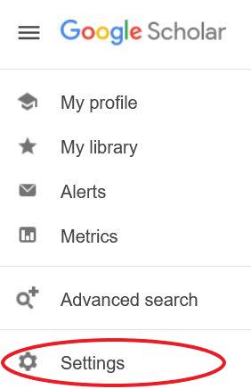 Side menu in Google Scholar. Settings is 6 options down.