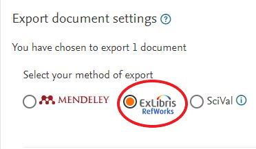 In Export document settings window, under Select your method of export, ExLibris RefWorks is second option